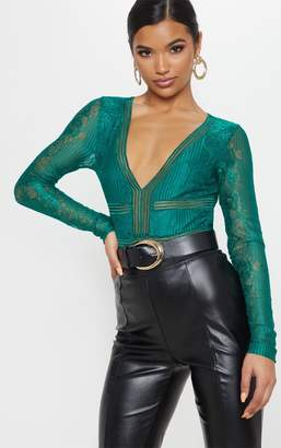 PrettyLittleThing Emerald Lace Open Back Thong Bodysuit
