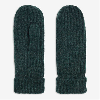 Joe Fresh Women's Ribbed Mitts, Dark Green (Size O/S)