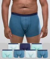 Asos Plus Trunks In Blue 7 Pack