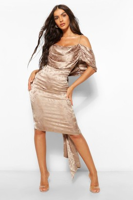 boohoo Satin Jacquard Off The Shoulder Midi Dress