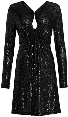Naeem Khan V-Neck Long-Sleeve Sequin Cocktail Dress