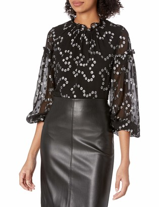Rebecca Taylor Women's Long Metallic Dot Top with Ruffled Sleeves