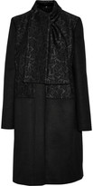 Just Cavalli Jacquard-paneled wool-blend coat