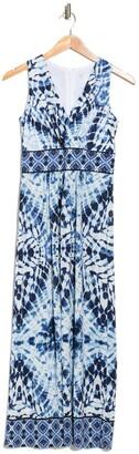London Times Tie-Dye V-Neck Sleeveless Maxi Dress