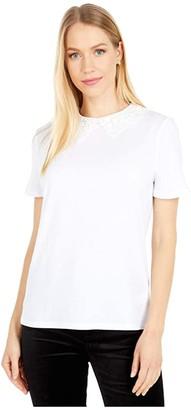 Kate Spade Lace Collar Tee (Fresh White) Women's Clothing
