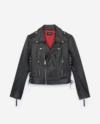 The Kooples Leather motorcycle jacket with lace details