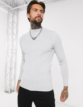 Asos DESIGN muscle wide rib turtle neck jumper in grey twist