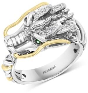 Effy Diamond (1/20 ct. t.w.) & Tsavorite Accent Dragon Ring in Sterling Silver & 18k Gold-Plate