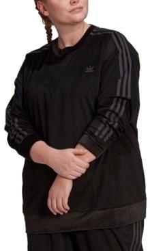 adidas Plus Size Corduroy Crewneck Pullover