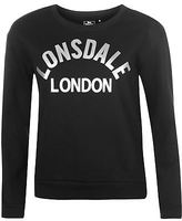 Lonsdale London Womens Crew Neck Sweater Jumper Pullover Long Sleeve Print