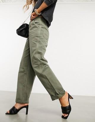 ASOS DESIGN slouchy chino pants in khaki