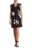 Bobeau Flower Print Lace Sleeve Dress