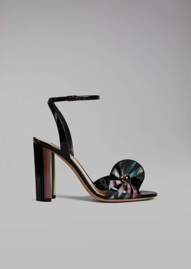 Giorgio Armani Heeled Sandal With Ruffle And Ball Details