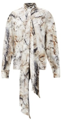 Petar Petrov Clancy Pussy-bow Fox Fur-print Silk Blouse - Grey Print