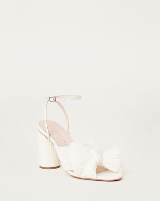 Loeffler Randall Camellia Bow Heel with Ankle Strap Vegan Pearl