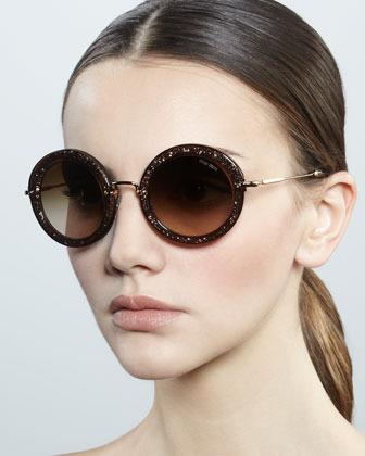 Miu Miu Oversize Circle Sunglasses, Black