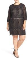 Adrianna Papell Stripe Lace Shift Dress (Plus Size)