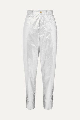 Isabel Marant Torsy Metallic Coated Cotton Tapered Pants - Silver