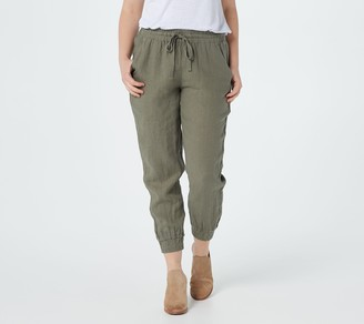 Side Stitch Linen Jogger Pants