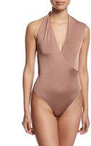 Cushnie et Ochs Twisted-Shoulder V-Neck Bodysuit