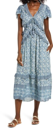 Faherty Bonita Floral Ruffle Midi Dress