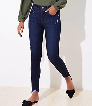 LOFT Tall Curvy Destructed Chewed Hem Skinny Jeans in Staple Dark Indigo Wash