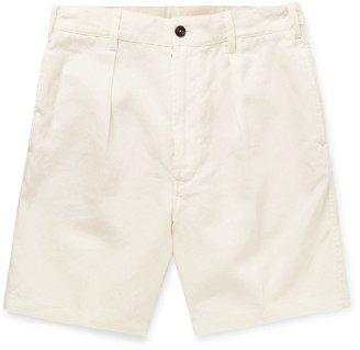 Drakes Pleated Linen Shorts