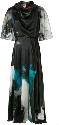 Roksanda Teal Explosion print satin dress