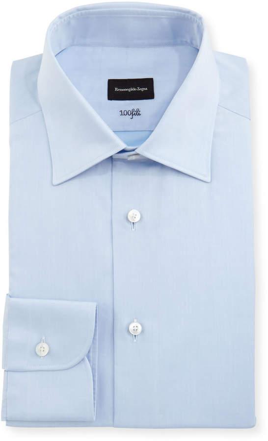 Ermenegildo Zegna 100Fili Solid Dress Shirt, Blue