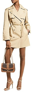 MICHAEL Michael Kors Snap Trench Coat with Chain Belt