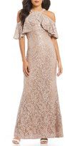 Marina Ruffled Halter-Neck Sequin Lace Gown