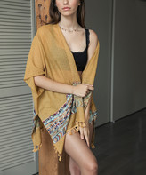 Leto Collection Women's Kimono Cardigans MUSTARD - Mustard Embroidered Geometric Tassel-Trim Kimono - Women