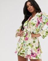 Asos Design DESIGN jersey tie waist suit blazer in floral print