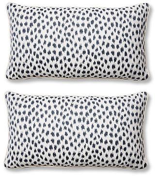 One Kings Lane Set of 2 Agra Lumbar Pillows - Indigo Sunbrella
