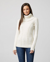 Le Château Pearl Embellished Knit Cowl Neck Sweater