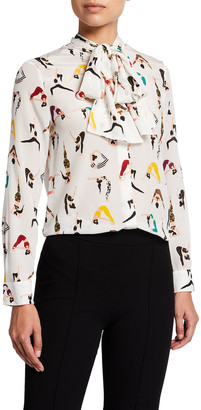Alice + Olivia Jeannie Bow-Collar Button-Down Blouse