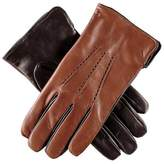 Black Men's Tobacco and Leather Gloves - Cashmere Lined
