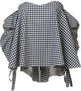 Caroline Constas off-shoulder checked blouse
