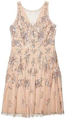 Adrianna Papell Beaded Tea Length Dress (Champagne Sand) Women's Dress
