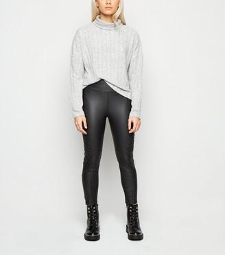 New Look Petite Coated Leather-Look Biker Leggings