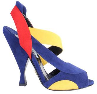 Prada Tri Color Block Suede Heel Sandals Size 36