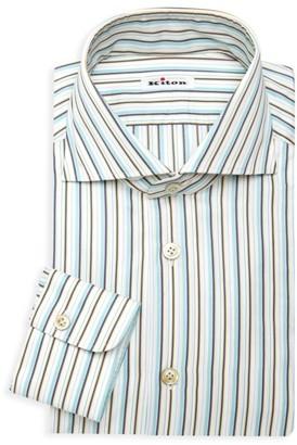 Kiton Two-Tone Stripe Dress Shirt