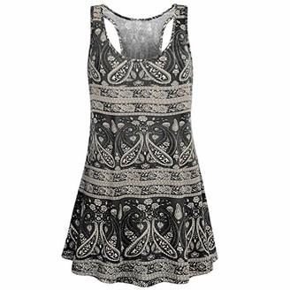 Uribaky Blouses Uribaky Boho Printing Tank Vest Women Maxi Scoop Neck Sleeveless Ladies Slim Sexy Casual Printed Flare Beach Top Tunic Black