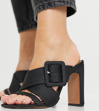 ASOS DESIGN Wide Fit Nanda buckle feature high heeled mules in black