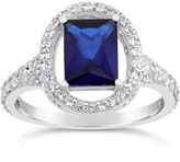 FINE JEWELRY Womens Lab Created Blue Sapphire Sterling Silver Cocktail Ring