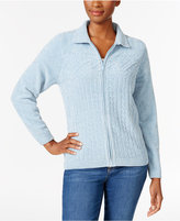 Alfred Dunner Northern Lights Cable-Knit Zippered Cardigan