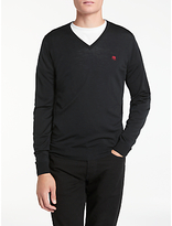 John Smedley Long Sleeve V-Neck Jumper, Black
