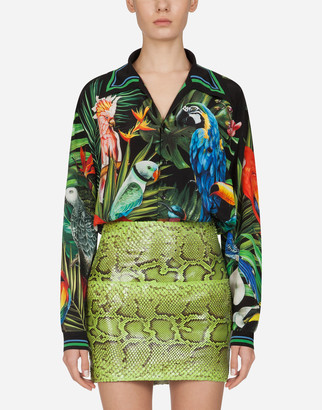 Dolce & Gabbana Oversized Shirt In Crepe De Chine With Parrot Print