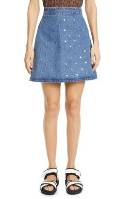 Ganni Studded Organic Cotton Denim Miniskirt