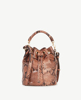 Ann Taylor Snakeskin-Embossed Leather Mini Bucket Bag